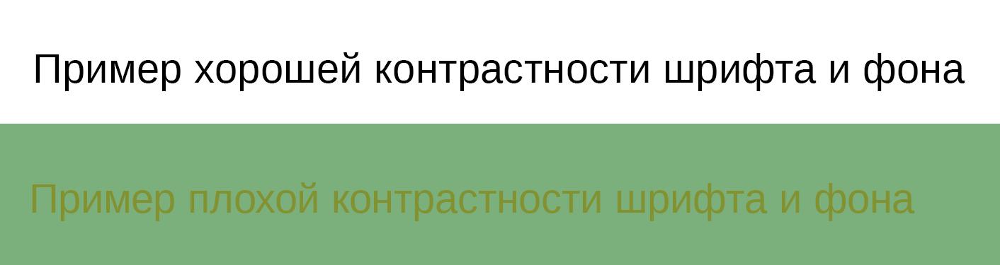 Примеры контрастности шрифта и фона