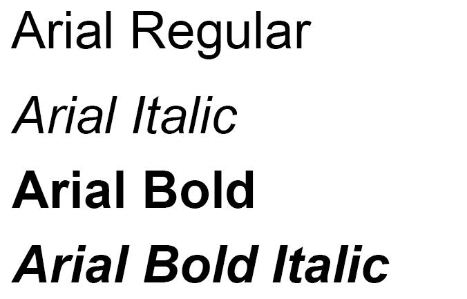 Различные варианты начертания шрифта